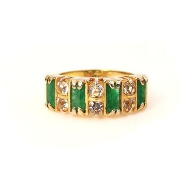 Faux Emerald and Crystal Statement Ring Costume Jewelry Vintage, 1930s to 1980s