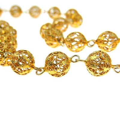 Filigree Chain Necklace Gold Over Silver Round Links Vintage, 1930s to 1980s