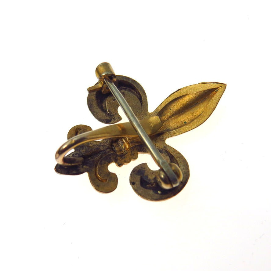 Fleur de Lis Watch Pin Chatelaine Victorian, 1830s to 1900s