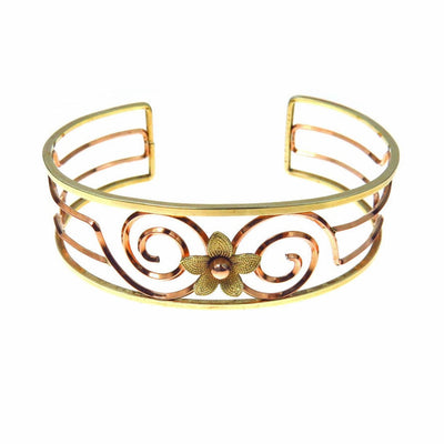 Flower & Spiral Two Tone Gold Filled Cuff Bracelet Vintage, 1930s to 1980s