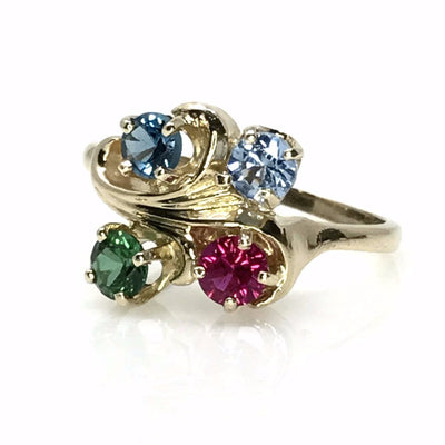 Four stone ring Vintage, 1930s to 1980s