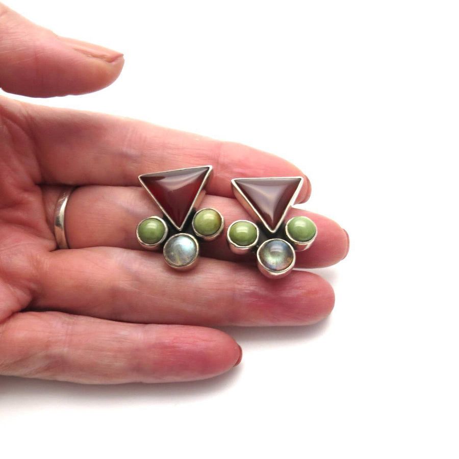 Geometric Triangles and Circles Clip Earrings Vintage, 1930s to 1980s