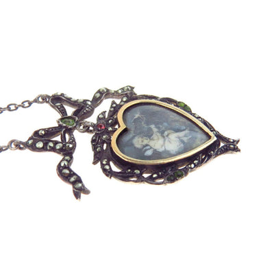 Georgian Bow Lavalier Locket Necklace Hand Drawn Angel & Swallow Georgian, Pre 1837