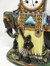 Gien France Blackamoor Elephant Faience Majolica Clock Victorian, 1830s to 1900s