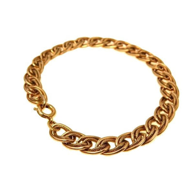 Gold Fill Textured Link Curb Chain Bracelet Vintage, 1930s to 1980s