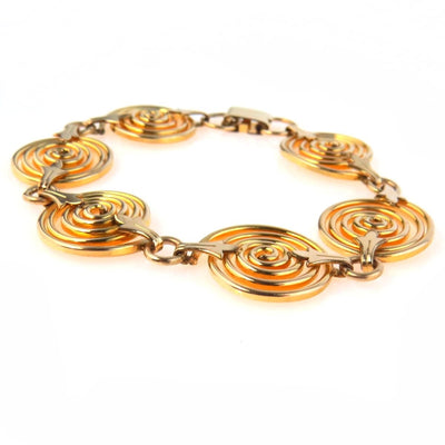 Gold Filled Fancy Spiral Link Chain Bracelet Vintage, 1930s to 1980s