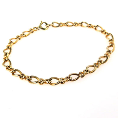 Gold Filled Figure 8 Long and Short Link Chain Bracelet Vintage, 1930s to 1980s