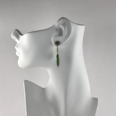 Gold Filled Nephrite Jade Drop Earrings Vintage, 1930s to 1980s