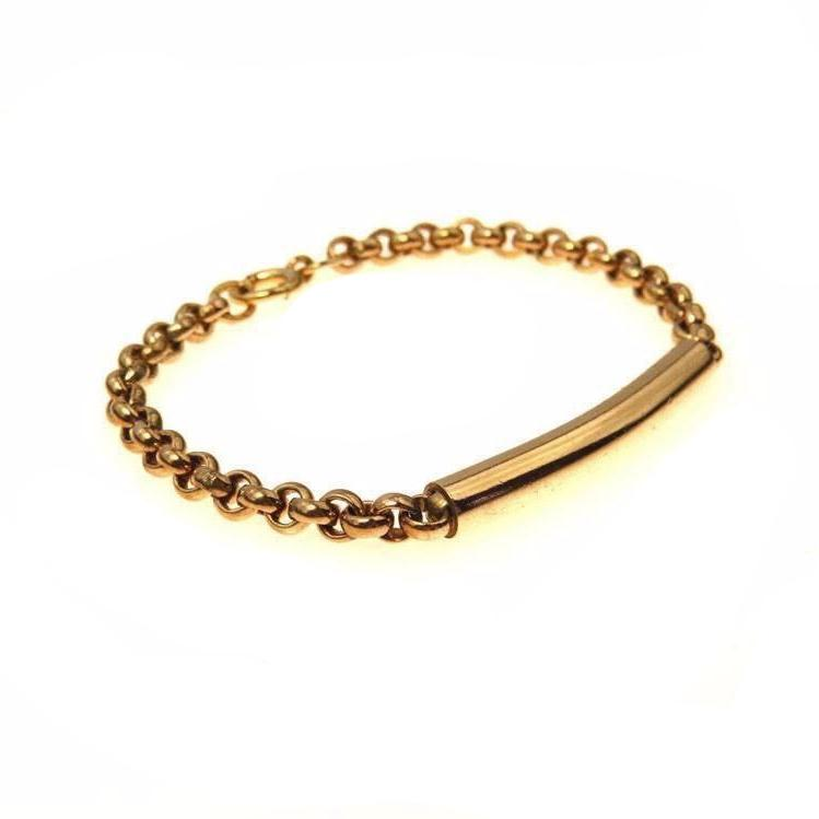 Gold Filled Rolo Link Chain ID Bracelet Vintage, 1930s to 1980s