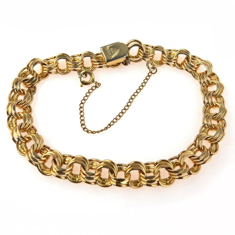 Gold Filled Triple Link Bracelet Vintage, 1930s to 1980s