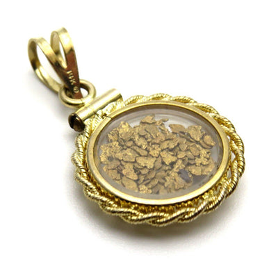 Gold Nugget Bubble Locket Pendant in 14k Gold Vintage, 1930s to 1980s