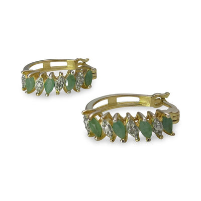 Gold Over Sterling Emerald Diamond Huggy Hoop Earrings Vintage, 1930s to 1980s