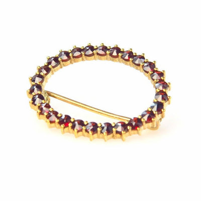 Gold over Sterling Silver Bohemian Garnet Brooch Vintage, 1930s to 1980s