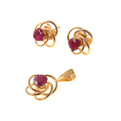 Ruby Gold Necklace Earrings Set PreAdored™