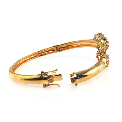 Gold Vermeil Bypass Look Bangle Bracelet Contemporary, Post 1990