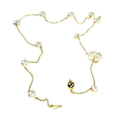 Gold Vermeil Tin Cup Necklace White Cultured Pearls Contemporary, Post 1990