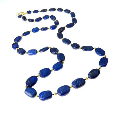Graduated Oval Natural Lapis Lazuli 18k Gold Necklace Contemporary, Post 1990