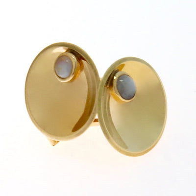 Gray Cat's Eye Chrysoberyl Modernist Cufflinks Vintage, 1930s to 1980s