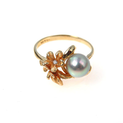 Gray Tahitian Pearl Diamond Flower Ring 14k Gold Vintage, 1930s to 1980s