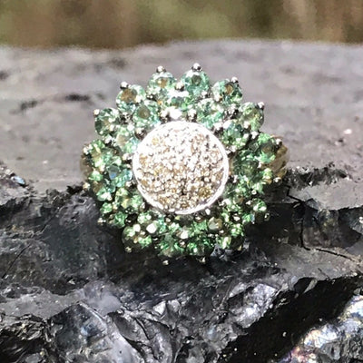 Green Sapphire Pave Flower Ring Contemporary, Post 1990