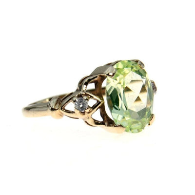 Green Topaz 10k Gold Retro Ring 2.9 Ct Vintage, 1930s to 1980s