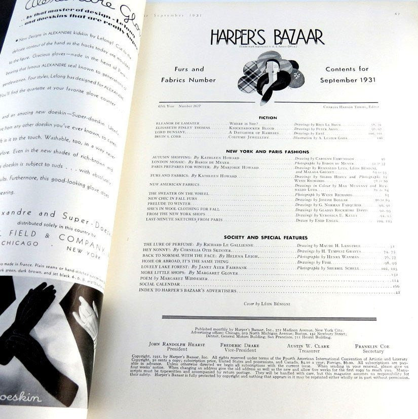 Harper's Bazaar Magazine September 1931 Back Issue Erte