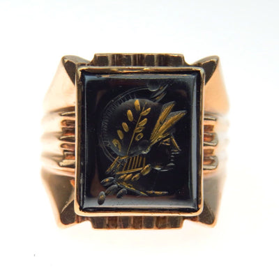 Hematite Intaglio Gold Signet Ring Art Deco, 1920s to 1930s