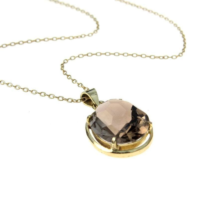 Vintage honeycomb facet oval smoky quartz pendant necklace preadored honeycomb facet oval smoky quartz pendant necklace vintage 1930s to 1980s aloadofball Image collections