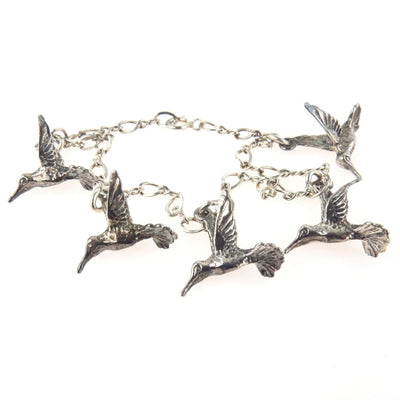 Humming Bird Charm Bracelet in Sterling Silver Vintage, 1930s to 1980s