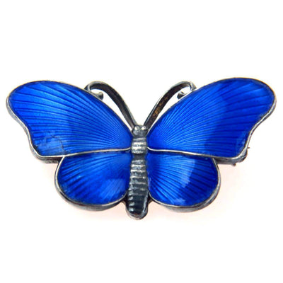 Ivar T Holth Norwegian Blue Enamel Sterling Butterfly Pin Vintage, 1930s to 1980s