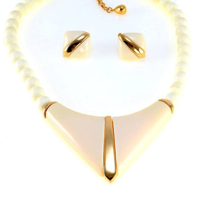 Ivory Color Lucite Gold Accents Modernist Necklace Earrings Set Vintage, 1930s to 1980s