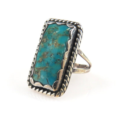 Jessie Claw Navajo Turquoise Sterling North-South Ring Vintage, 1930s to 1980s