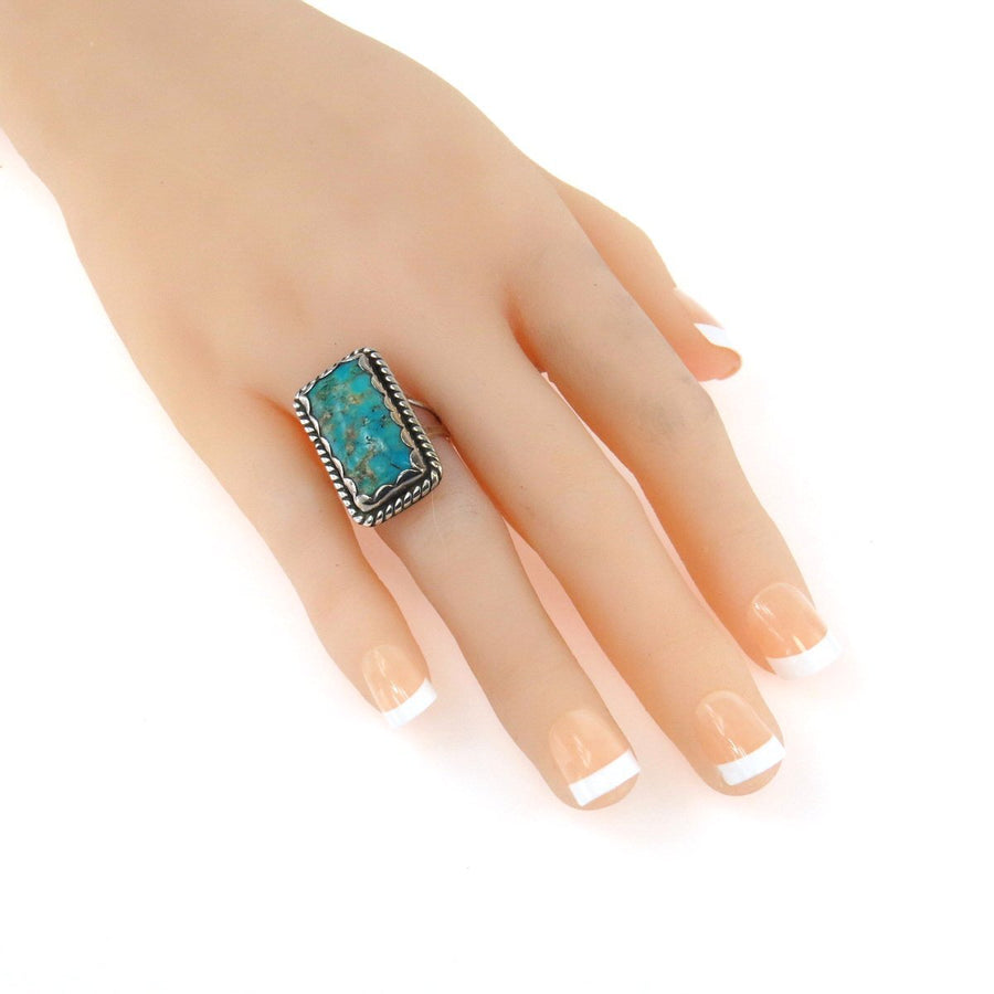 Jessie Claw Navajo Turquoise Sterling North-South Ring