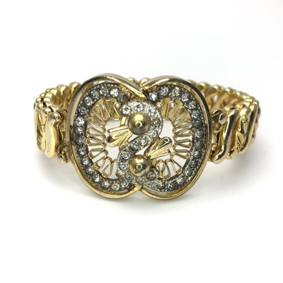 Jeweled Sweetheart Expandable Bracelet Retro Vintage Vintage, 1930s to 1980s