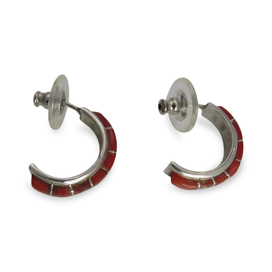 Keith Nastacio Zuni Coral Inlay Sterling Hoop Earrings Contemporary, Post 1990