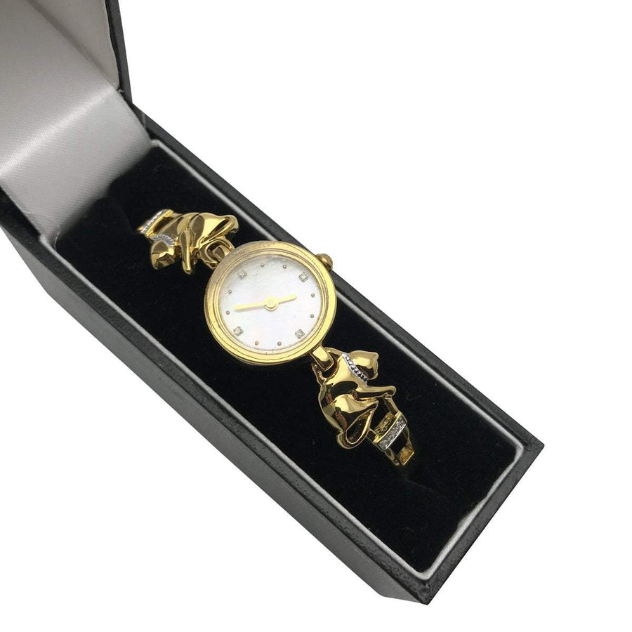 Kitties and Diamonds Ladies Wrist Watch Vintage, 1930s to 1980s