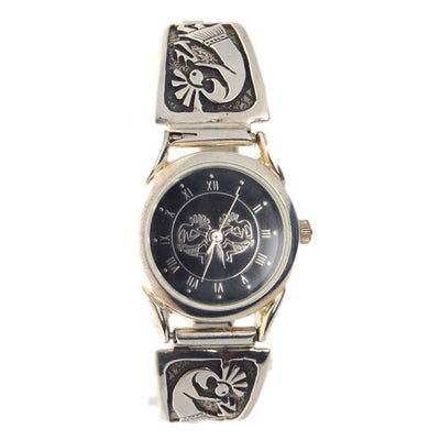 Kokopelli Watch Sterling Silver Tips Vintage, 1930s to 1980s