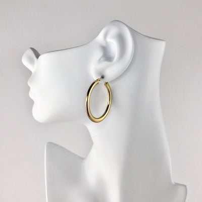 Large 10k Gold Hoop Earrings Vintage, 1930s to 1980s