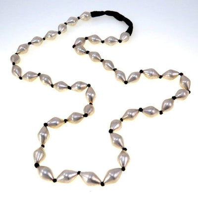 Large Bicone Bright Sterling Silver Beads Long Necklace Contemporary, Post 1990