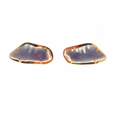 Large Slices of Agate Cufflinks Vintage, 1930s to 1980s