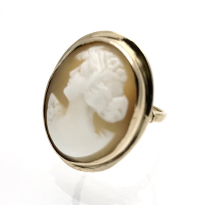 Large Victorian Cameo Gold Ring Victorian, 1830s to 1900s