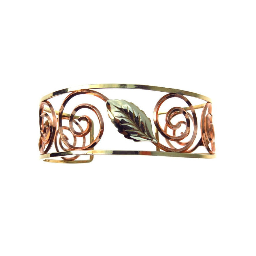 Leaf & Spiral Two Tone Gold Filled Cuff Bracelet Vintage, 1930s to 1980s