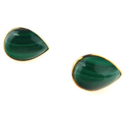 Malachite Pear Cabochon 14k Gold Stud Earrings