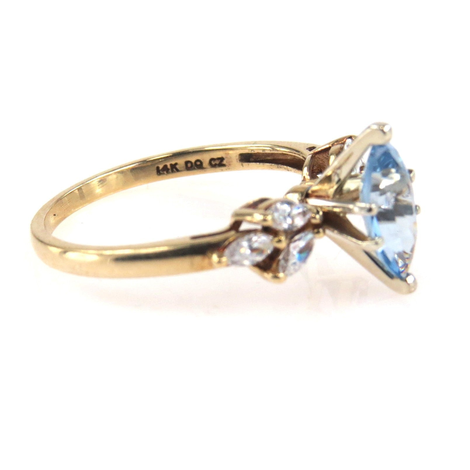 Vintage Yellow Gold Wedding Bands 85 Vintage Marquise Blue Topaz CZ
