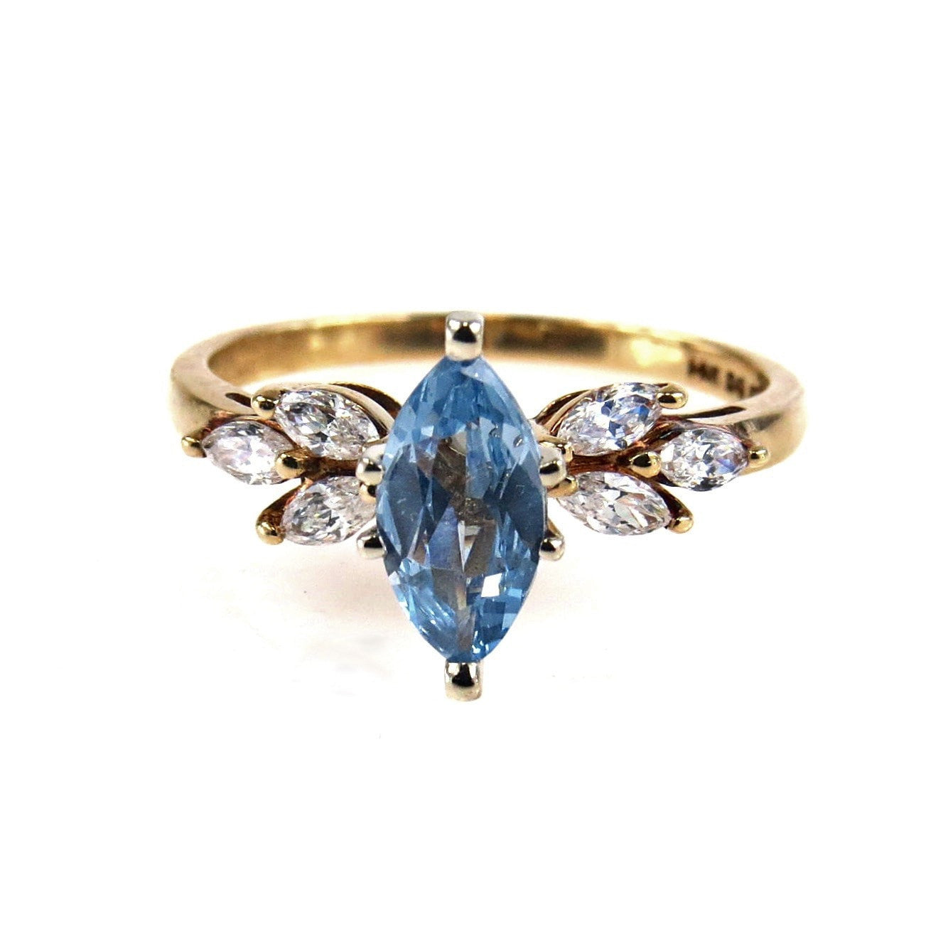 Antique Gold Wedding Bands 77 Awesome Marquise Blue Topaz CZ