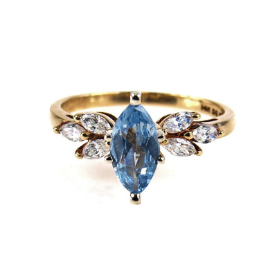 Marquise Blue Topaz CZ Gold Ring Vintage, 1930s to 1980s
