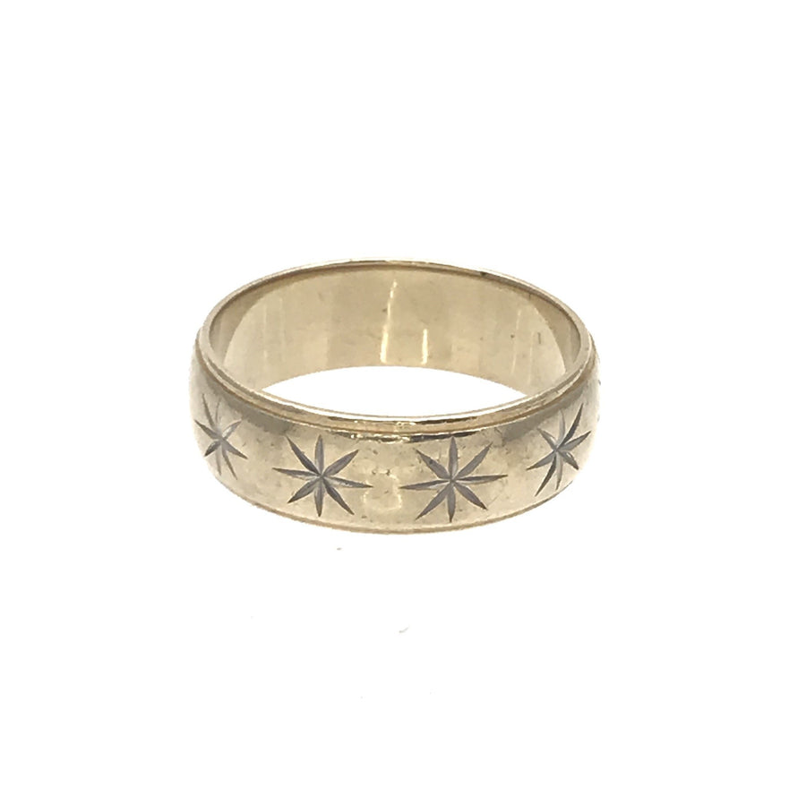Mens 14k Gold Wedding Band Ring with Carved Starbursts