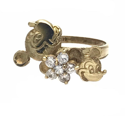 Mickey Mouse Solid Gold Spinner Ring Vintage, 1930s to 1980s