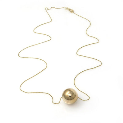 Minimalist 14k Gold Ball Bead Slide Necklace Vintage, 1930s to 1980s