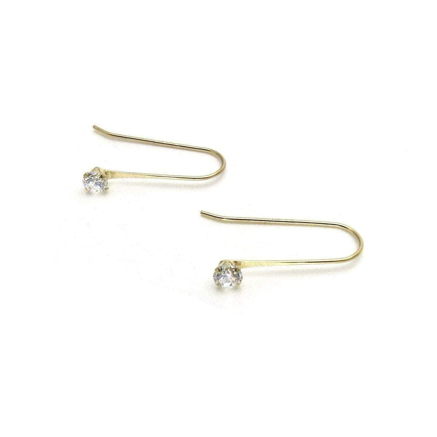 Minimalist CZ Solitaire Drop 14k Gold Earrings Vintage, 1930s to 1980s